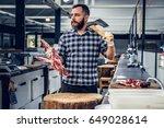 portrait of a bearded meat man... | Shutterstock . vector #649028614
