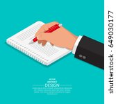 the hand with a pen writes on a ... | Shutterstock .eps vector #649030177