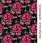 seamless pattern with red... | Shutterstock . vector #649033531