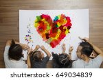 colorful heart with happy... | Shutterstock . vector #649034839