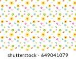 cartoon flower and bird with... | Shutterstock .eps vector #649041079