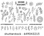 set of hand drawn seamless... | Shutterstock .eps vector #649043215