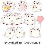 vector collection of cute... | Shutterstock .eps vector #649046875
