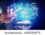 view of a technology hand drawn ... | Shutterstock . vector #649050979
