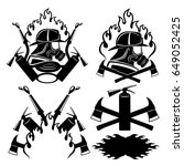 firefighters icons set. | Shutterstock .eps vector #649052425
