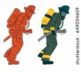 illustration of a fireman with... | Shutterstock .eps vector #649054609