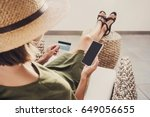 young woman on vacations using...   Shutterstock . vector #649056655