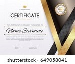 certificate template with... | Shutterstock .eps vector #649058041