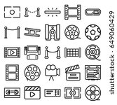 cinema icons set. set of 25... | Shutterstock .eps vector #649060429