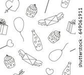black and white seamless... | Shutterstock .eps vector #649061911