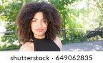 beautiful young girl in street... | Shutterstock . vector #649062835