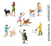 Stock vector isometric people training dog vector flat d illustration 649064287