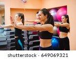 beautiful women exercising... | Shutterstock . vector #649069321