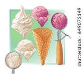 set of watercolor ice creams in ... | Shutterstock .eps vector #649073149