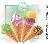 set of watercolor ice creams in ... | Shutterstock .eps vector #649073161