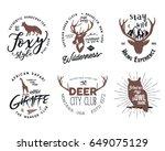 wild animal badges set.... | Shutterstock . vector #649075129