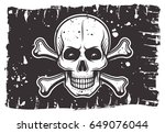 pirates black flag on which... | Shutterstock .eps vector #649076044
