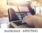 closeup coding on screen  woman ... | Shutterstock . vector #649079641