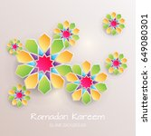 greeting card with with paper... | Shutterstock .eps vector #649080301