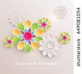 greeting card with with paper... | Shutterstock .eps vector #649081054
