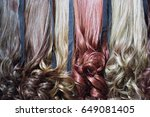 wig hairpiece colorful variety... | Shutterstock . vector #649081405