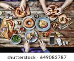 dinner of friends | Shutterstock . vector #649083787
