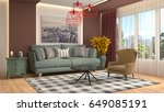 interior living room. 3d... | Shutterstock . vector #649085191
