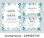 wedding invitation  with ... | Shutterstock .eps vector #649085734