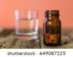 glass bottle for pills. old... | Shutterstock . vector #649087225