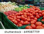 vegetables inside plastic... | Shutterstock . vector #649087759