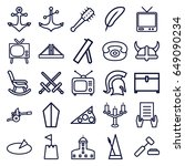antique icons set. set of 25... | Shutterstock .eps vector #649090234