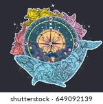 antique compass and floral... | Shutterstock .eps vector #649092139