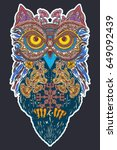 owl in ethnic celtic style t... | Shutterstock .eps vector #649092439