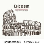 coliseum in rome  italy vector. ...