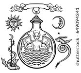 set of alchemical symbols.... | Shutterstock .eps vector #649094341