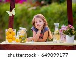 young girl standing at her... | Shutterstock . vector #649099177