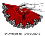 female hand with red open fan.... | Shutterstock .eps vector #649100641