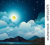 vector night landscape with... | Shutterstock .eps vector #649101475