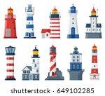 cartoon lighthouse vector set.... | Shutterstock .eps vector #649102285