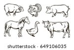 farm animals sketches | Shutterstock .eps vector #649106035
