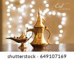 eid mubarak with arabic coffee... | Shutterstock . vector #649107169