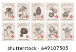 labels with mushrooms. set... | Shutterstock . vector #649107505