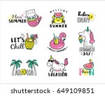 set of summer icons and design... | Shutterstock .eps vector #649109851