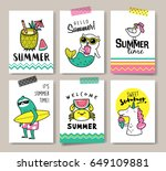 set of fun summer holidays cards | Shutterstock .eps vector #649109881