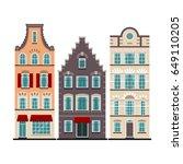set of 3 amsterdam old houses... | Shutterstock .eps vector #649110205