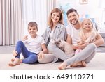 parents with children and cat... | Shutterstock . vector #649110271