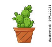 one cactus icon. animated style.... | Shutterstock .eps vector #649112281