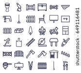 wood icons set. set of 36 wood... | Shutterstock .eps vector #649116481