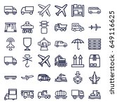 cargo icons set. set of 36... | Shutterstock .eps vector #649116625