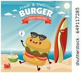 vintage burger poster beach... | Shutterstock .eps vector #649117285